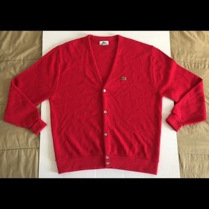 Lacoste Vintage Red Classic Cardigan Sweater Sz XL